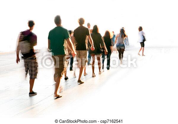 marche, brouillé, gens - csp7162541