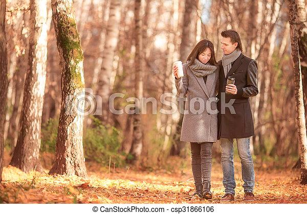 marche, famille, ensoleillé, parc, automne, diminuez jour, heureux - csp31866106