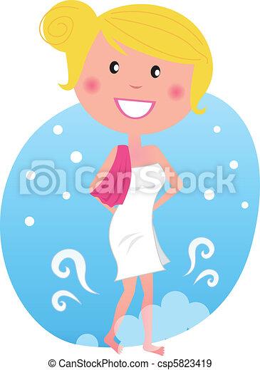 marche, femme, après, neige, sauna, chaud - csp5823419