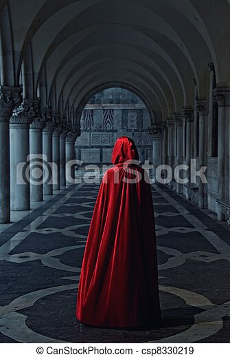 marche, femme, loin, manteau rouge - csp8330219