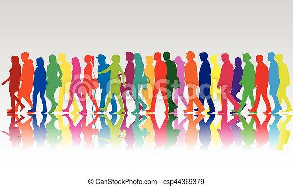 marche., foule, gens - csp44369379