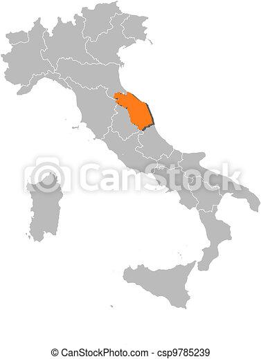 Marche Cartina Italia.Marche Mappa Evidenziato Italia Marche Mappa Italia Politico Regioni Highlighted Parecchi Dove Canstock