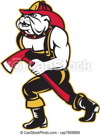 Marche pompier bouledogue chien hache dessin anim - Bulldog dessin anime ...