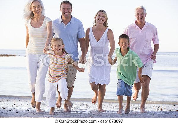 marche, prolongé, plage, famille - csp1873097