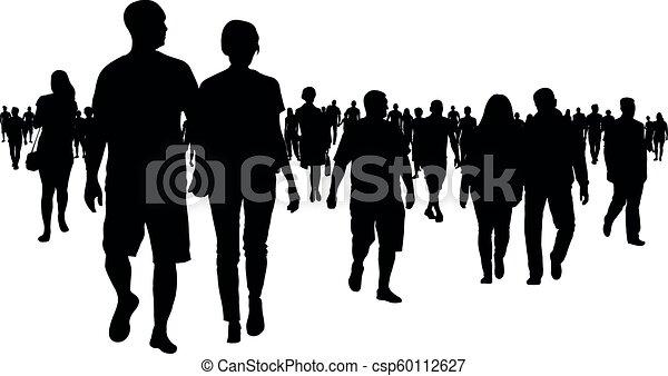 marche, silhouette, foule, gens - csp60112627