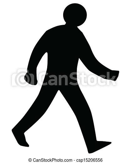 marche, silhouette, homme - csp15206556