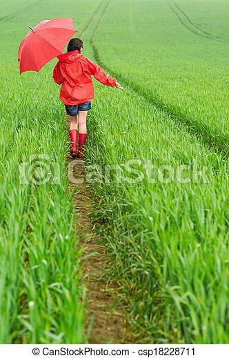 marche, solitaire, girl, pluie - csp18228711