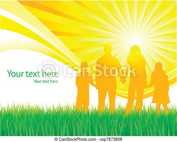marche, vecteur, famille, fond - csp7873808