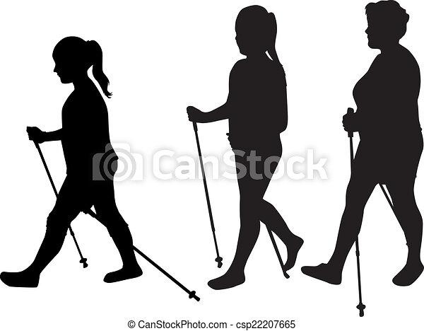 marche., vecteur, silhouette, nordique, femmes - csp22207665