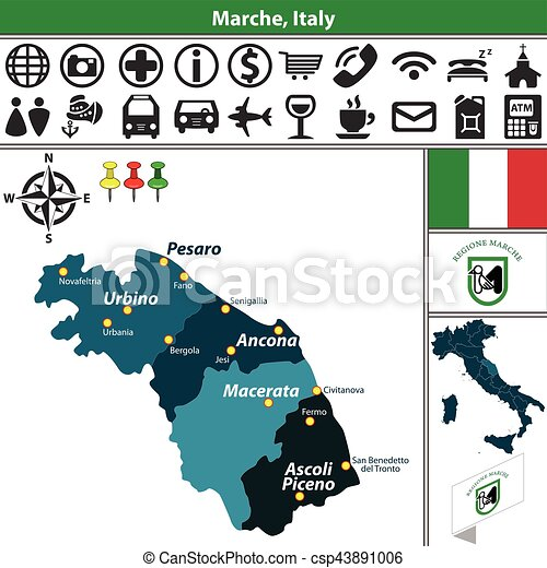 Marche with regions italy Vector map of marche with vector