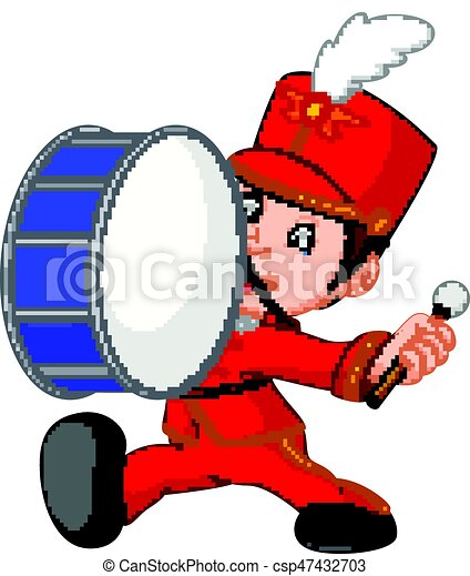 illustration of marching band banging a big bass drum vector clipart rh canstockphoto com matching clipart marching band clipart silhouette