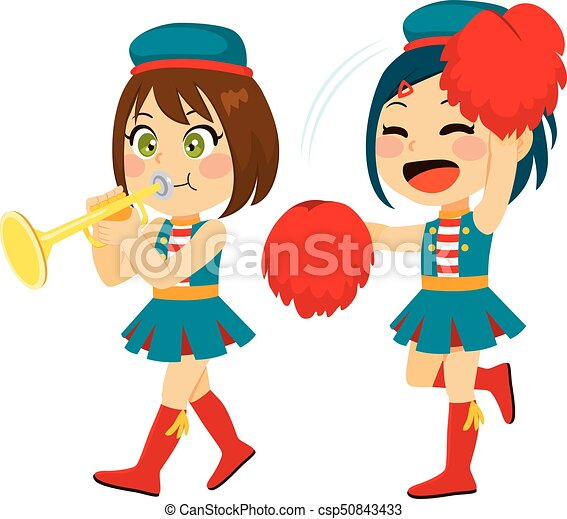 marching band cute little girl playing trumpet and cheering on rh canstockphoto com clipart marching band marching band clipart black and white