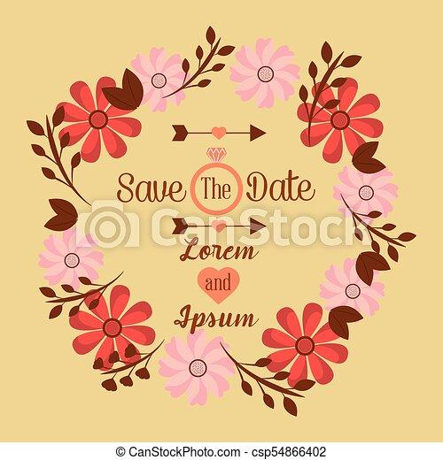 Marco, boda, fecha, diseño, plantilla, invitación, floral, excepto ...