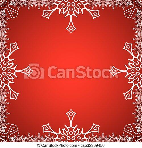 Un marco de Navidad con copos de nieve en el borde - csp32369456