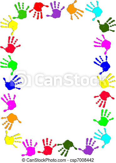 Un marco de mano colorido - csp7008442