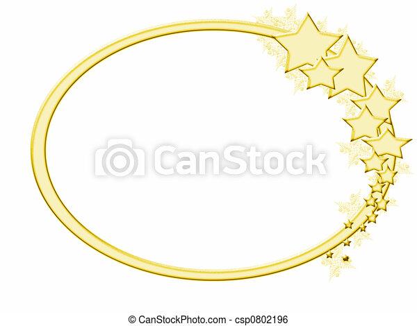 Marco, estrella, oro, wintery. Invierno, oro, marco, efecto, helado ...