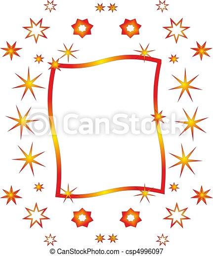 Imagen, tonos, marco, estrellas, naranja, adornado.