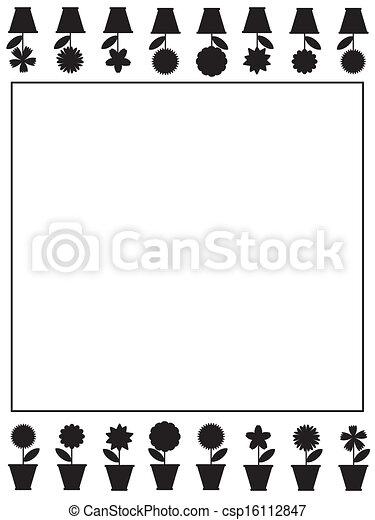Un marco blanco y negro con flores - csp16112847