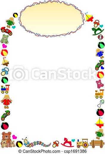 marco, frontera, cima, juguetes - csp1691386