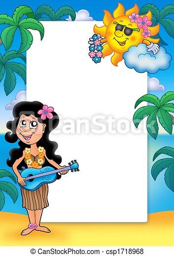 Enmarcar con una chica hawaiana - csp1718968