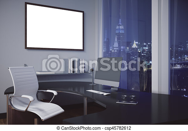 Marco, oficina, blanco. Imagen, arriba, monitor, oficina, marco ...