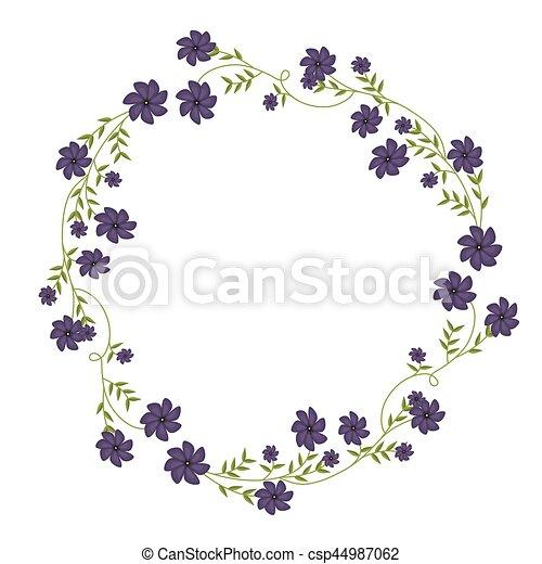 Marco Ornamento Enredaderas Flores Violetas Circular Marco
