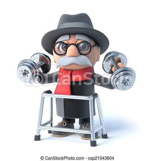 ¡El abuelo con un marco andante levanta pesas! - csp21043604