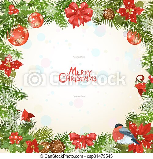 Marco, ramitas, flores, pino, navidad vector eps - Buscar imágenes ...