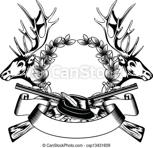 Marco, sombrero, caza. Alce, guirnalda, roble, arma de... clipart ...