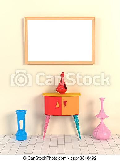 Ilustración 3D del interior en el estilo de Memphis. Frame, jarrón y una mesa contra una pared amarilla. Mocap in memphis - csp43818492