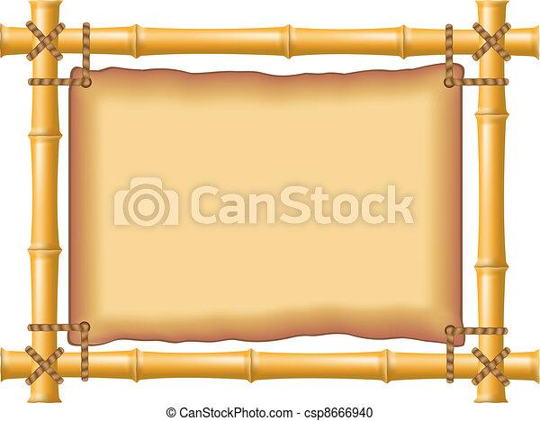 Bambú enmarcado y pergamino viejo - csp8666940