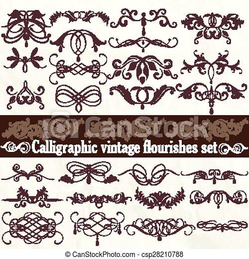 Colección de vectores caligráficos en estilo victoriano - csp28210788