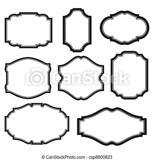Marcos, conjunto. Conjunto, simple, aislado, negro, marcos, barroco ...