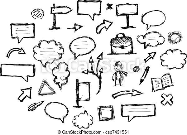 Marcos, diseño, bosquejo, flechas, su.