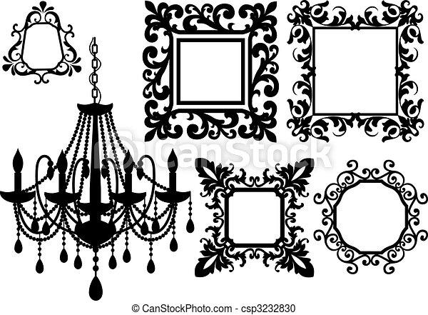 Marcos, imagen, araña de luces. Antigüedad, imagen, vector, silueta ...