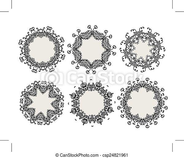 Marcos, ornamental, diseño determinado, su. Ornamental, conjunto ...