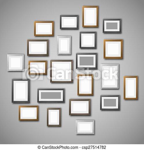 Gr fico vectorial de marcos pared pared foto blanco - Marcos de fotos pared ...
