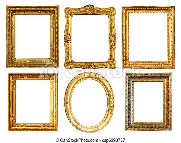Marcos, pocos, lujo, dorado. Dorado, recorte, conjunto, encima ...