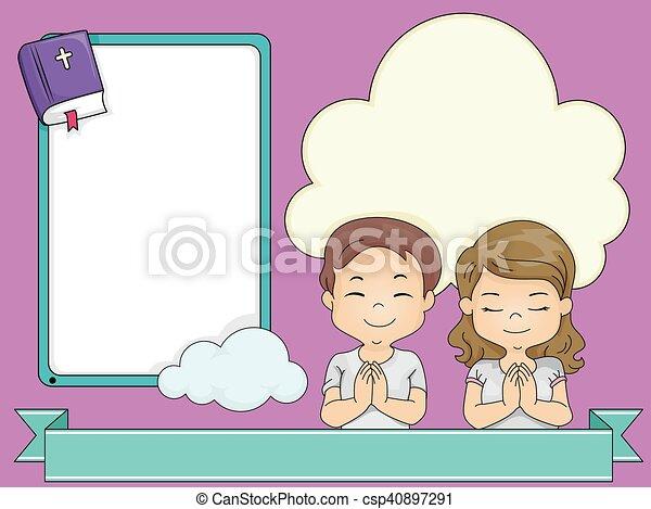 Marcos, rezando, cinta, niños. Marco, ilustración, arrodillar ...