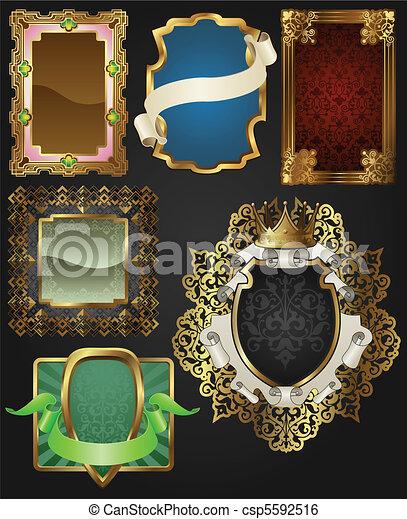 Encuadres antiguos de oro y etiquetas - csp5592516