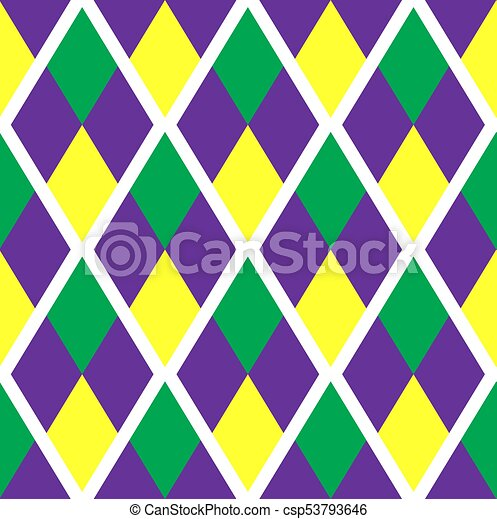Mardi Gras Abstract Geometric Pattern Purple Yellow Green Rhombus Repeating Texture Endless Background Wallpaper Backdrop Vector Illustration