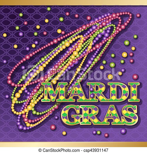 Mardi gras background vector golden text fat tuesday on french mardi gras background vector golden text fat tuesday on french language greeting cards with shining beads on traditional colors backdrop m4hsunfo