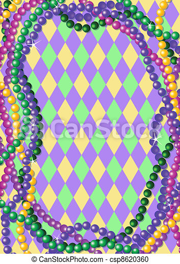 Mardi Gras beads background - csp8620360