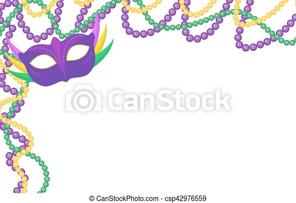 Mardi Gras beads colored frame with a mask, isolated on white background. Vector illustration. - csp42976559