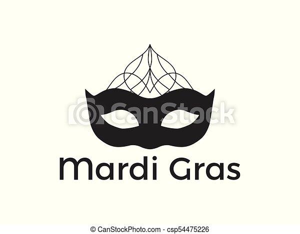 Black Mask On White Background. Festive Symbol. Vector Illustration