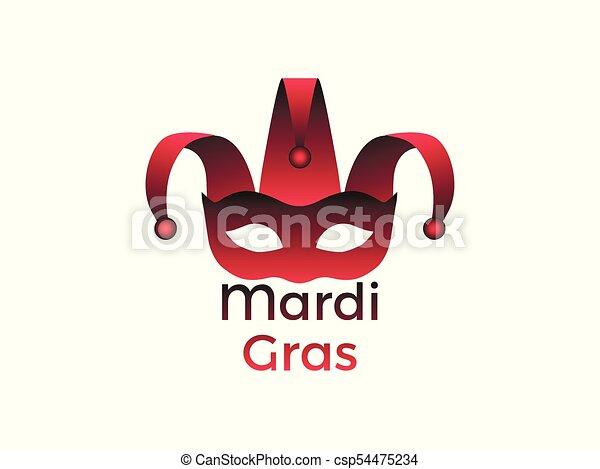 Mardi Gras. Carnival mask on a white background. Bells. Festive symbol. Vector illustration - csp54475234