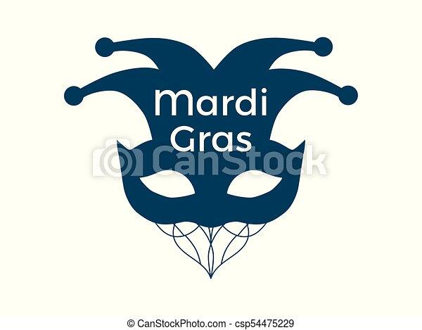 Mardi Gras. Carnival mask on a white background. Bells. Festive symbol. Vector illustration - csp54475229