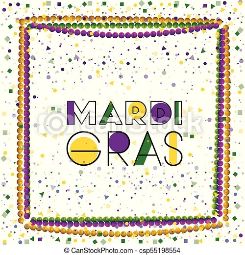 Mardi gras colorful background with frame of necklaces and confetti ...