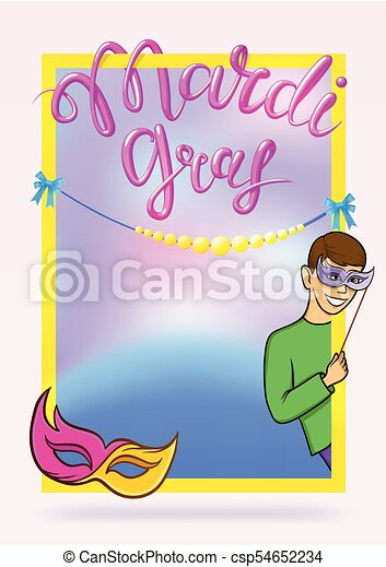 Mardi Gras, Fat Tuesday, vector lettering illustration. Design template of poster or banner for party or carnival. - csp54652234