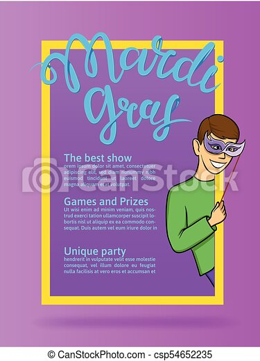 Mardi Gras, Fat Tuesday, vector lettering illustration. Design template of poster or banner for party or carnival. - csp54652235
